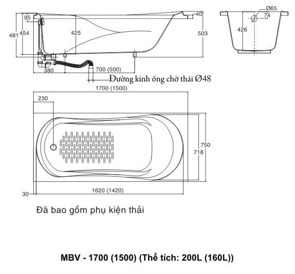 Bồn tắm Galaxy MBV-1700