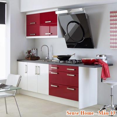Tủ bếp đẹp Acrylic chữ I đỏ
