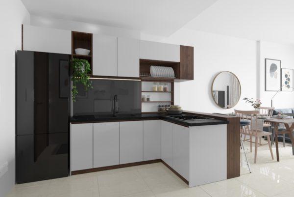 Tủ bếp đẹp Melamine chữ L
