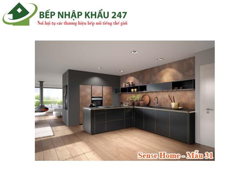 Tủ bếp đẹp Melamine chữ L sang trọng