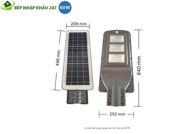 Kích thước đèn năng lượng mặt trời 60w